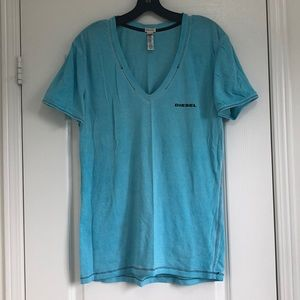 Diesel Men's Vneck Tee in baby blue.